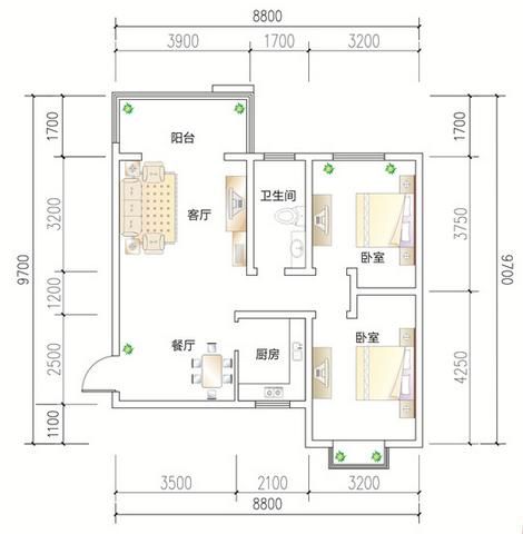 跪求大師們幫忙裝修設計一下,90平兩室兩廳,戶型圖帶尺寸,萬分感謝圖片