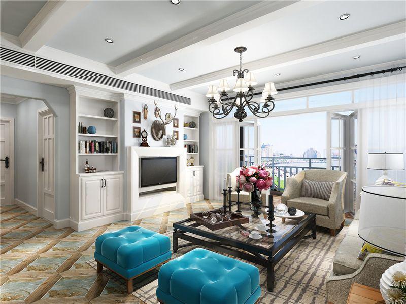 蔚蓝海岸 面积:105㎡ 户型:3房2厅3阳台1厨2卫 风格:休闲法式风格图片