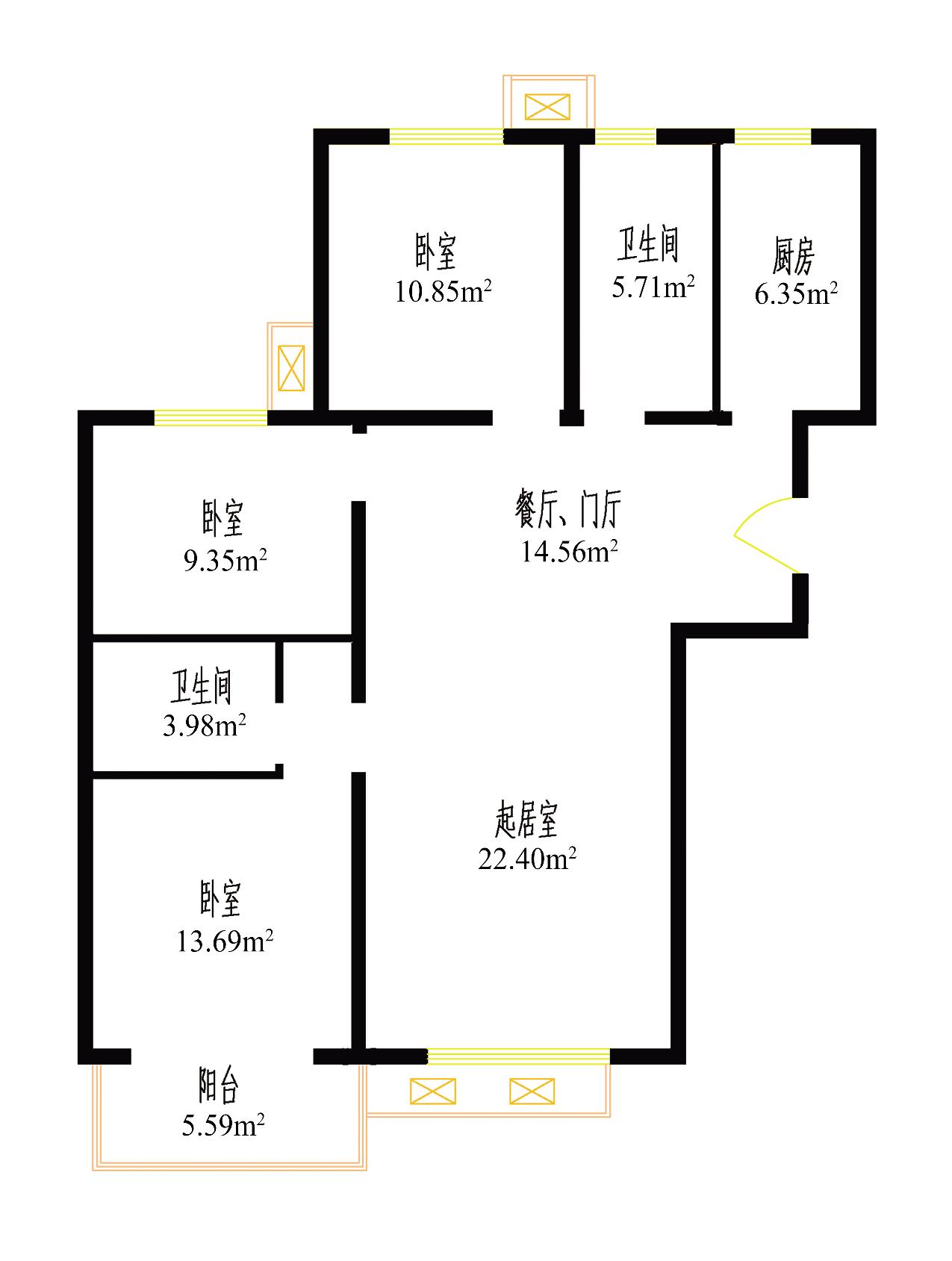 该北京市房山区富燕新村l3户型总面积为
