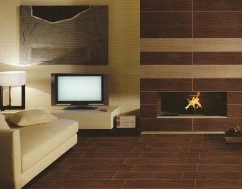 在这款室内地板砖装修图片中采用了黄色的地板装饰,给这个卧室带来的