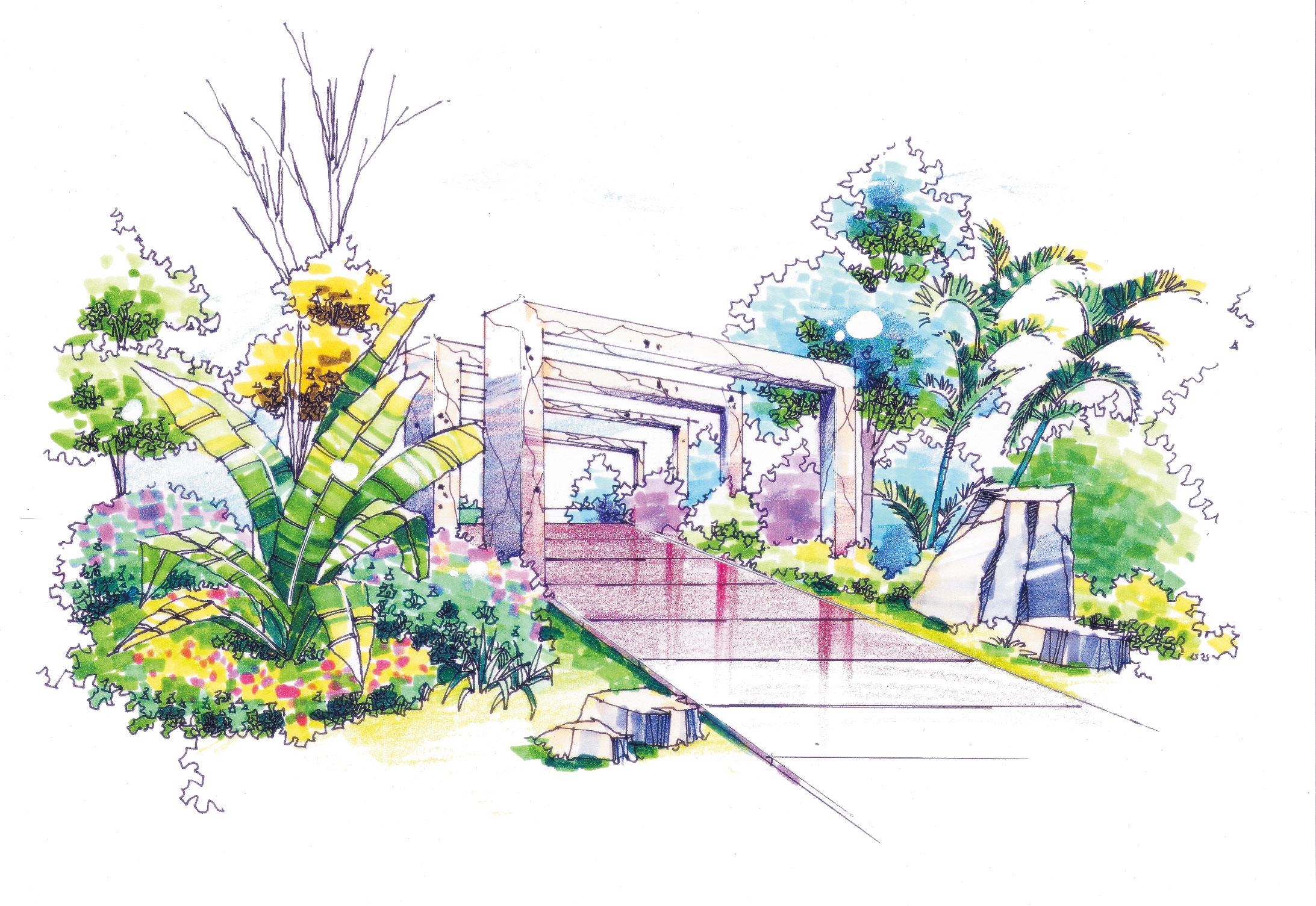 景观设计手绘-城市景观设计公司/园林手绘图铅笔/售楼处景观设计平面图片