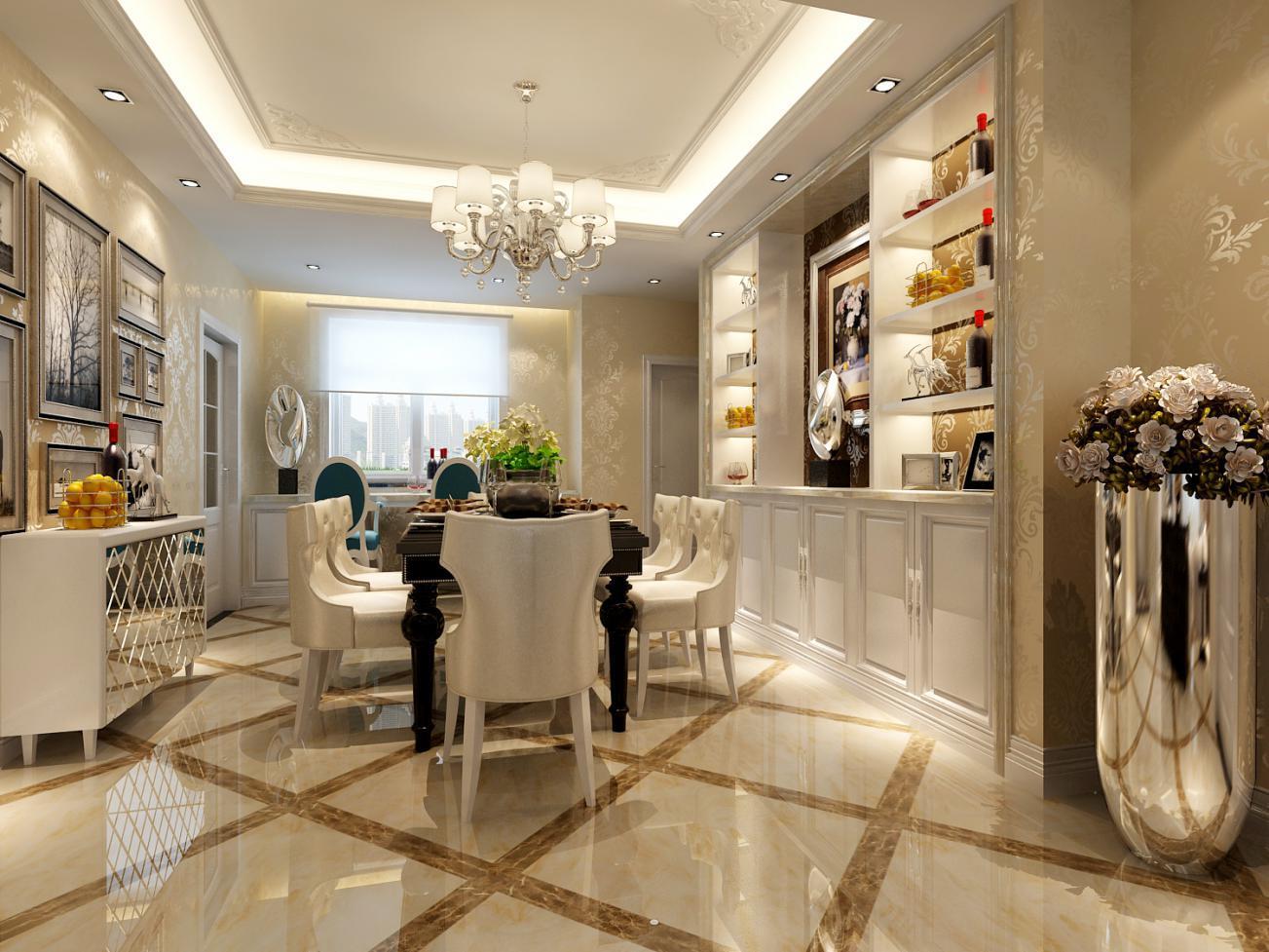 顶面造型的设计和体面的拼花瓷砖适当的体现出了欧式造型特点.图片