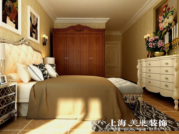 美式装修卧室带木饰面效果图
