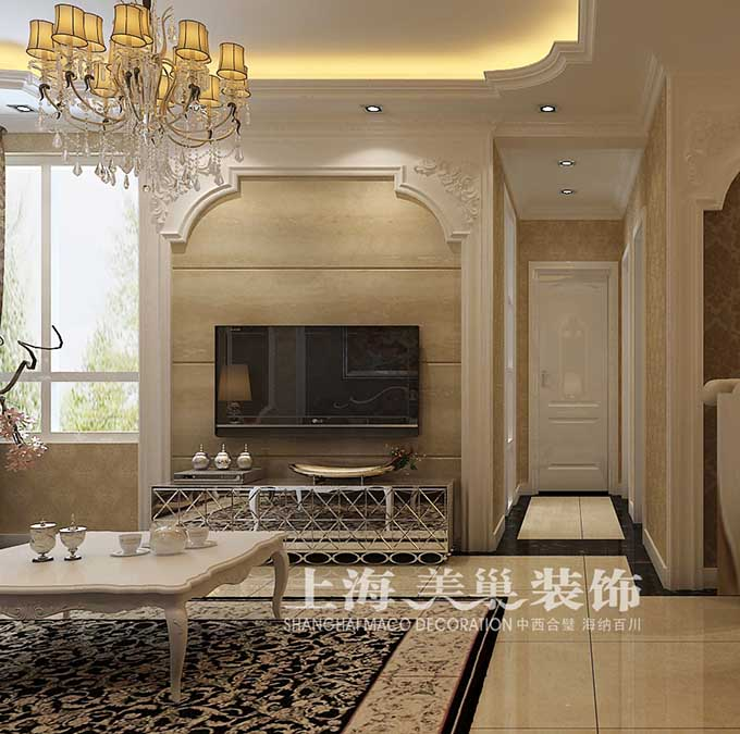 伍号院88.5平米两室一厅传统欧式风格装修效果图图片