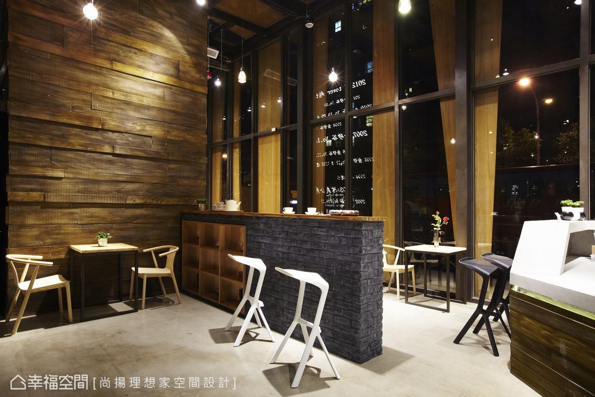 呼应主体设计线条,多角度变化的吧台以无修饰的水泥粉光打造现代感图片