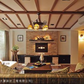 美式乡村客厅吊顶设计案例展示