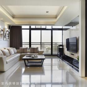 现代简约客厅吊顶背景墙沙发装修案例