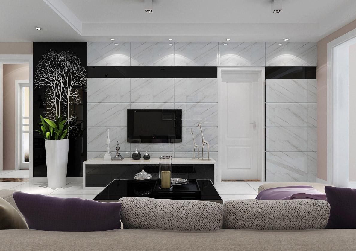 客厅电视墙采用石材加艺术玻璃装饰,并且采用隐形门设计,衬托电视墙