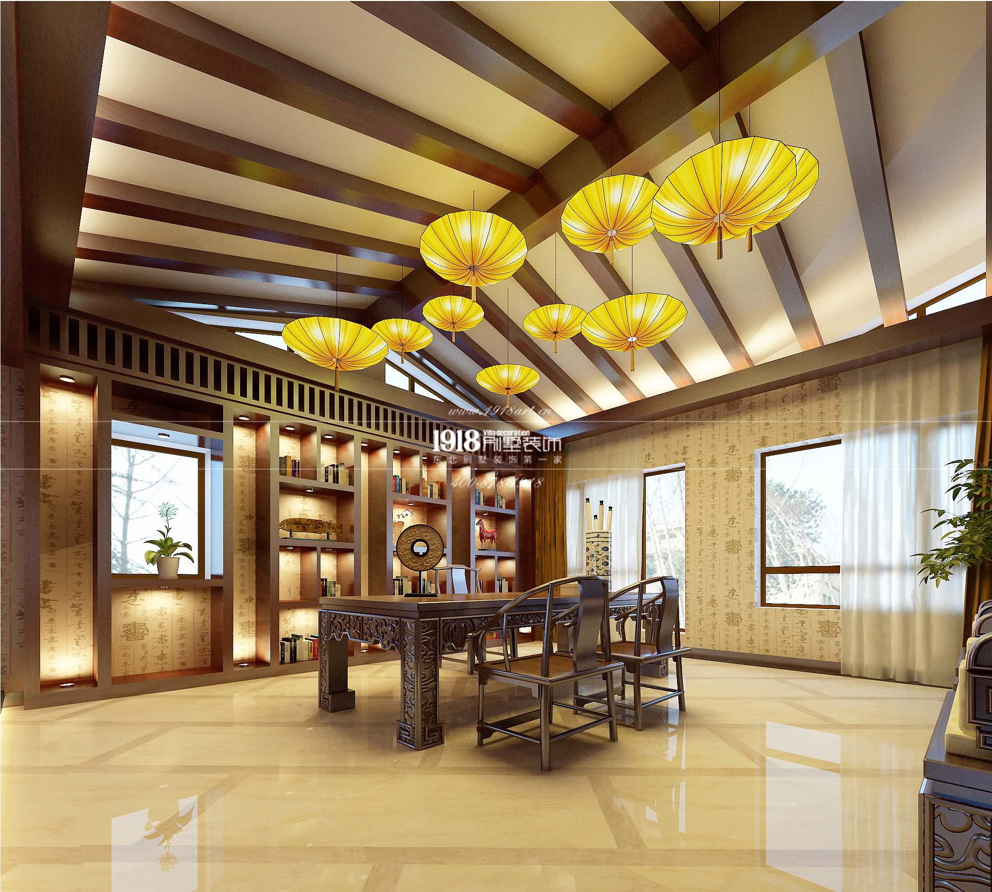 新中式风格大宅赏析 锦州联排别墅装修效果图图片