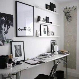现代简约书房背景墙效果图