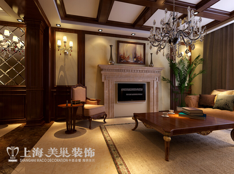 四室两厅220平美式乡村装修案例——客厅电视背景墙效果图图片