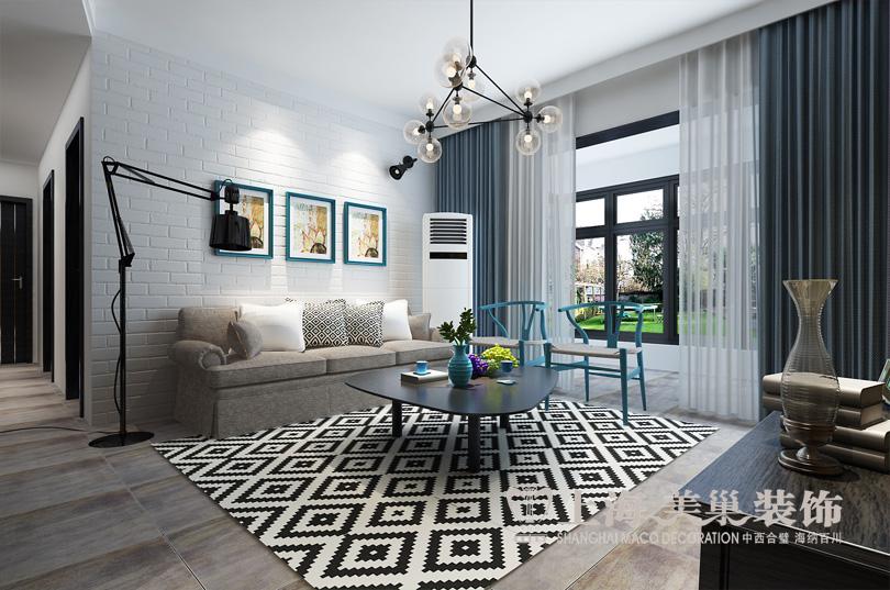 客厅沙发背景墙   郑州方圆经纬三室两厅装修案例120平北欧风格样板间图片