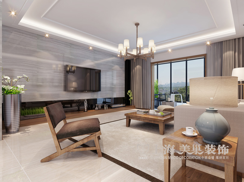 —客厅电视背景墙       伟业象湖湾200平装修案例五室两厅台式