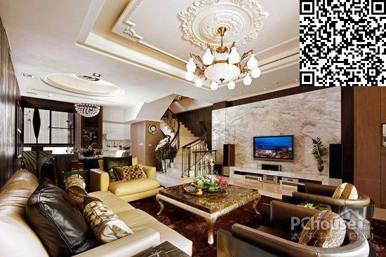 客厅墙壁瓷砖装修效果图高清图片