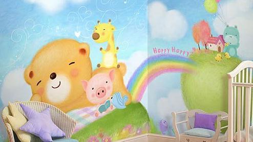 part b:5-8岁儿童房背景墙 可爱动物和童话故事壁纸     可爱的