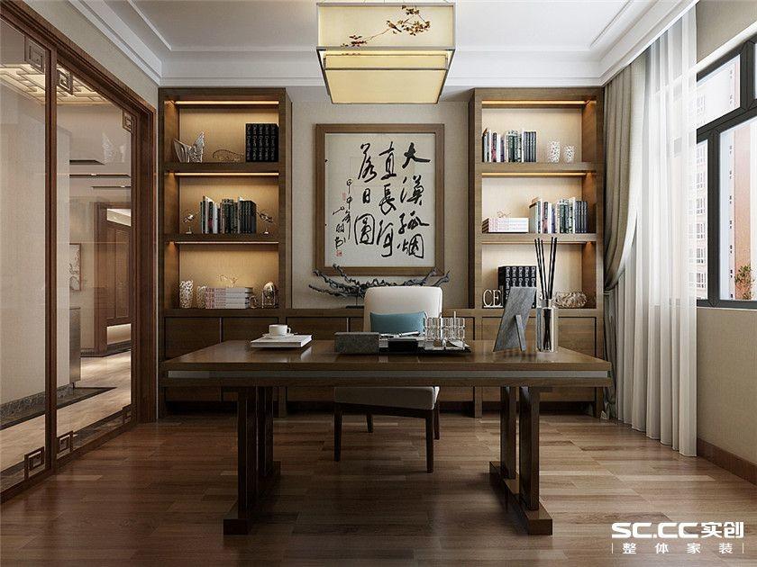 客厅以简洁的石膏板直线造型,暗藏灯带,电视背景墙采用中式雕花隔断