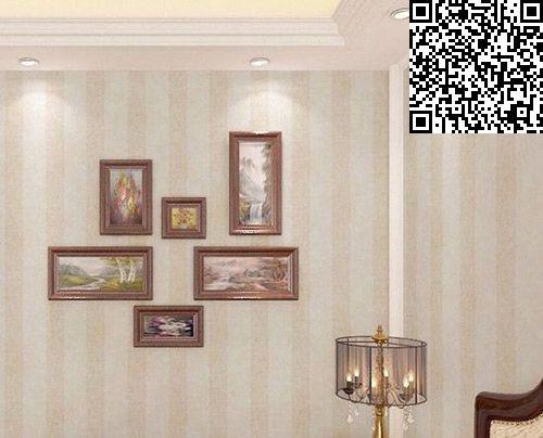 装修墙纸效果图:现代中式淡雅竖条纹墙壁纸,搭配朴素优雅的挂图片