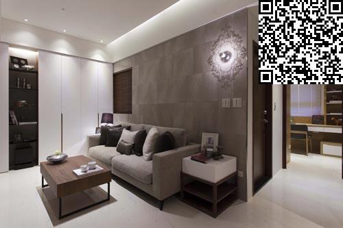 选择以进口石英砖来铺陈单身公寓客厅电视背景墙的内