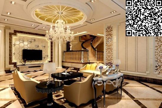 在设计上,材料选用高档红胡桃饰面板,欧式风格壁纸,仿古砖,石膏图片