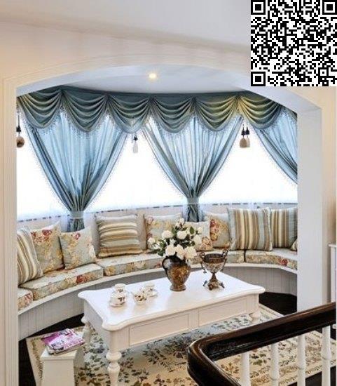 欧式田园系别墅 阳光地中海式地中海风格的门洞搭配田园风靠垫,花纹