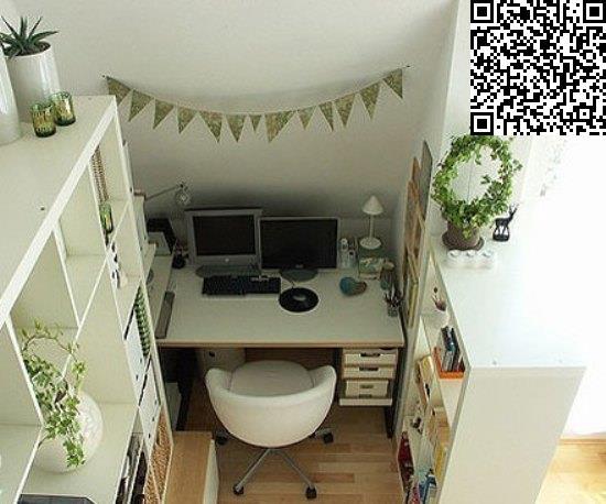 家装书房手绘效果图:不仅水泥墙,玻璃,布帘可以用来作为隔断