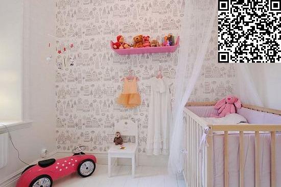 白雪公主式的儿童房,可爱的简笔画