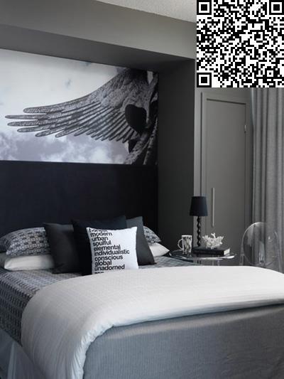 黑色皮床搭配卧室图