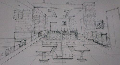 餐饮空间手绘 餐饮空间设计效果图