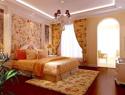 客厅:垭口及电视背景墙通过拱形造型体现欧式的风格,给人图片