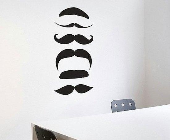态的黑色小胡子墙贴后