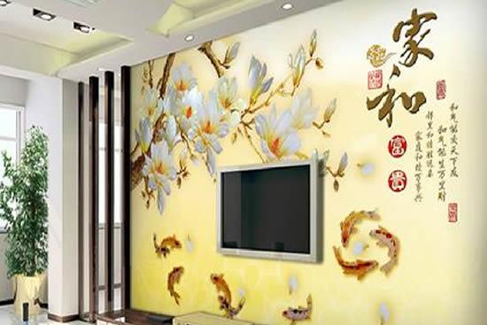 无纺布电视墙纸壁纸墙现代中式墙布家和富贵图片