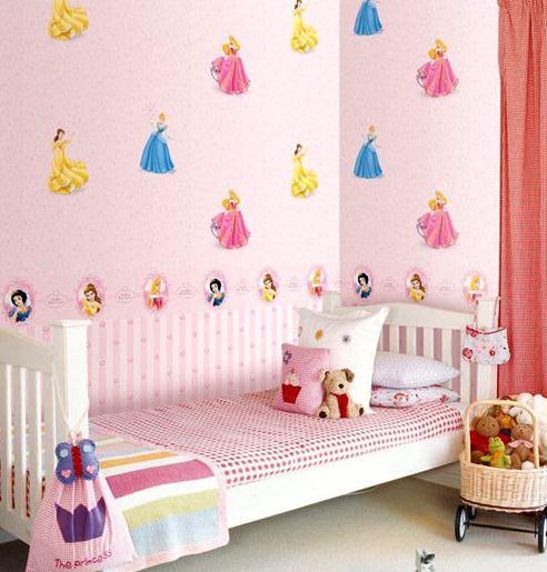 清新的苹果绿,简单的小女孩图案,是很适合公主房的一款墙纸哦!