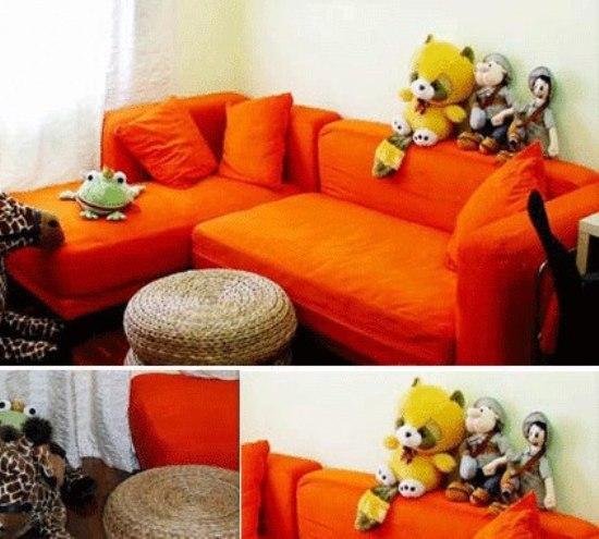 明亮耀眼的橙色沙发,时尚简约,强烈的暖色系,非常的温馨.