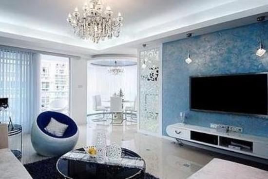 地中海风格家具茶几推荐     电视背景墙用用精美的射灯营造出