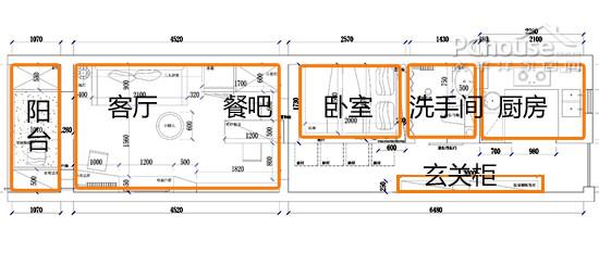 户型分析:户型结构不合理,狭长得像个长方形的盒子,进门一路走过