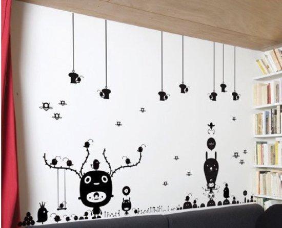 流行的手绘墙贴