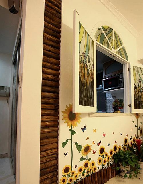 黄色藤蔓碎花边框设计