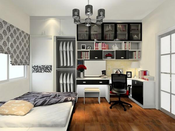 現代簡約書房裝修效果圖② 柜體設計上除了滿足使用者的儲物功能外圖片