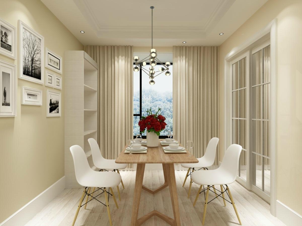 △ 餐厅:为典型的北欧黑白灰极简风,白色的细脚椅和实木的餐桌,是图片