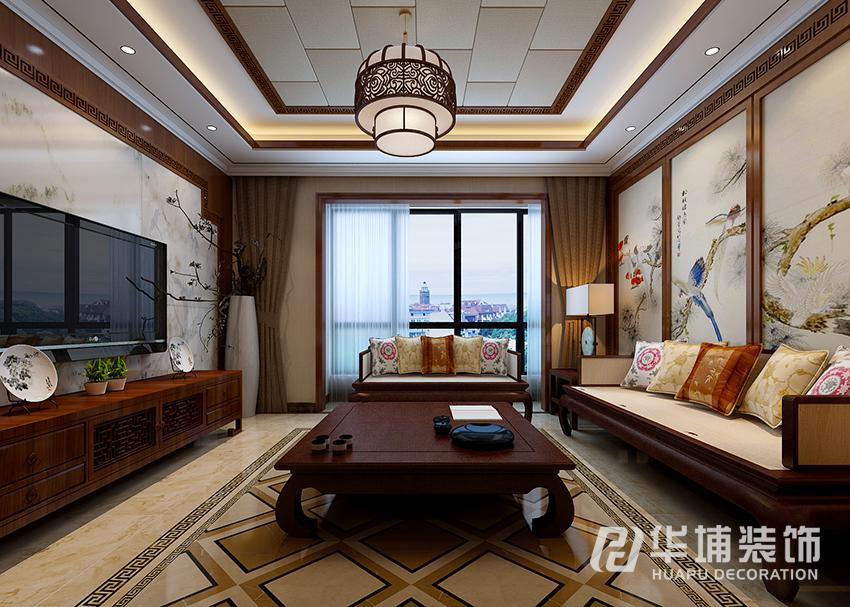 客厅正面:电视背景墙采用石材和木质线条的结合,既继承了中式的传统