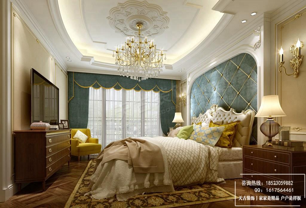 墙面装饰采取了石膏线造型,配欧式壁灯.地面为瓷砖拼花,上铺羊毛地毯.图片