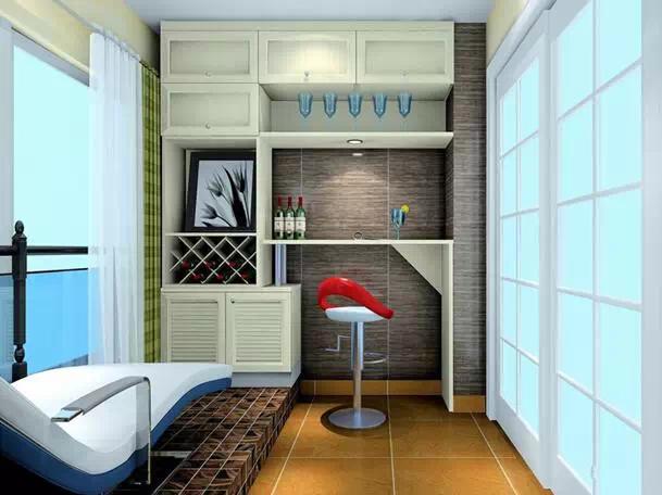 推荐三   把阳台设计成吧台区与休闲区的结合,酒柜区域储物丰富