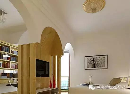 卧室客厅隔断装修效果图6     简约的隔断设计,配以拱门的效