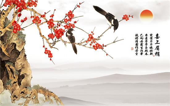 喜鹊立于梅花之上,连在一起,既是喜上眉梢,两只喜鹊有着双喜临门之意.
