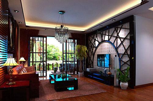 这间客厅从家具到电视背景墙一直到窗户装修都以强烈的新中式风格来图片