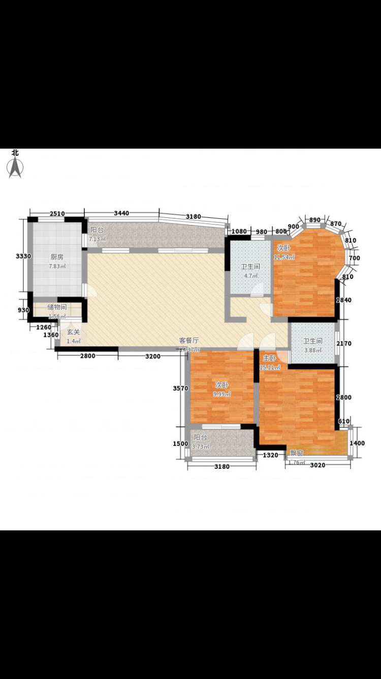 【奇葩户改七】l型户型,半圆形卧室,三房改四房图片