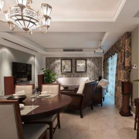 新古典美式混搭精致客厅装修效果展示