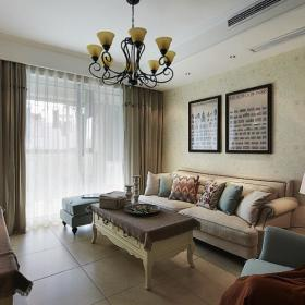 美式客厅窗帘沙发门窗设计图
