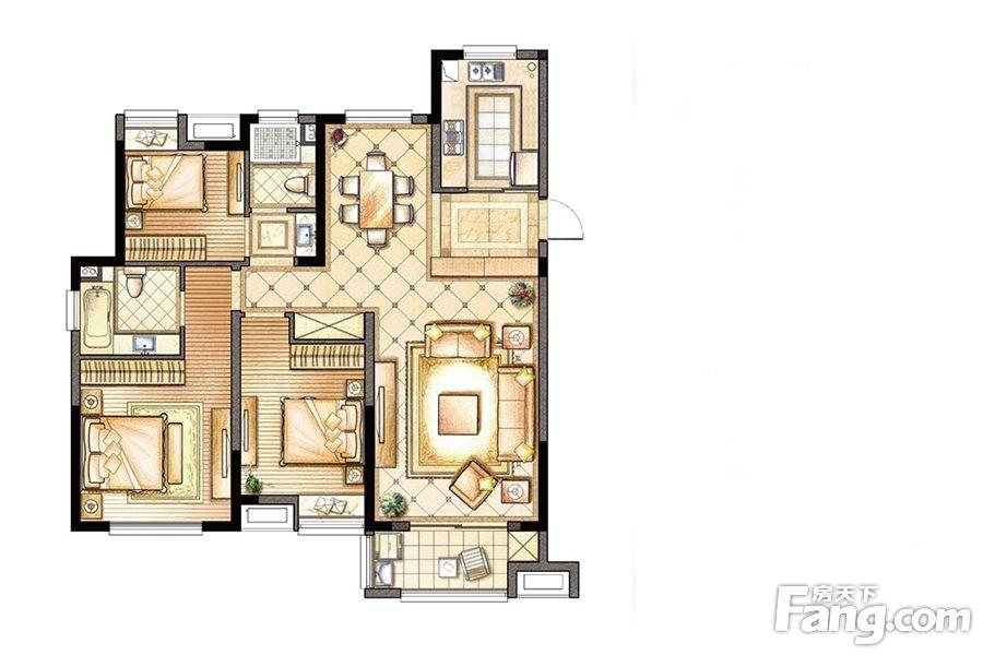 景瑞御江山126.00㎡70-72#高层b户型3室3厅2卫1厨