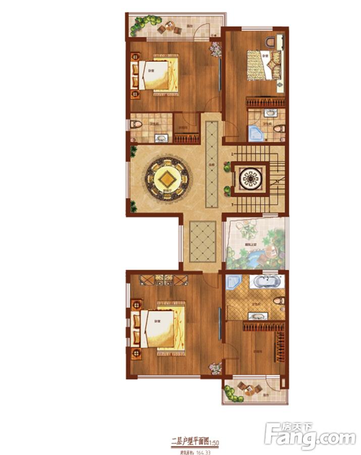 33㎡双拼二层平面图户型3室3厅3卫图片